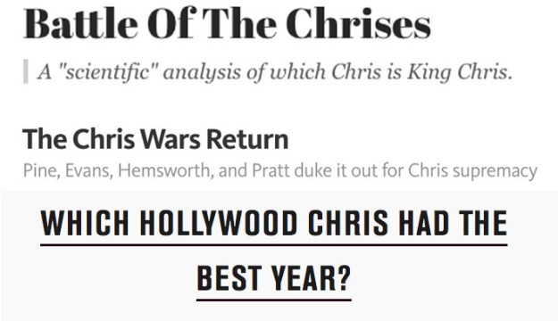 But for anyone with a passing interest in hot white guys named Chris who also star in superhero movies, a fierce debate has been raging for a while now: which Chris is the ultimate Chris?