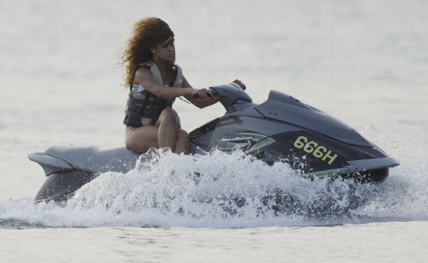 And this is how Rihanna rides a jet ski: