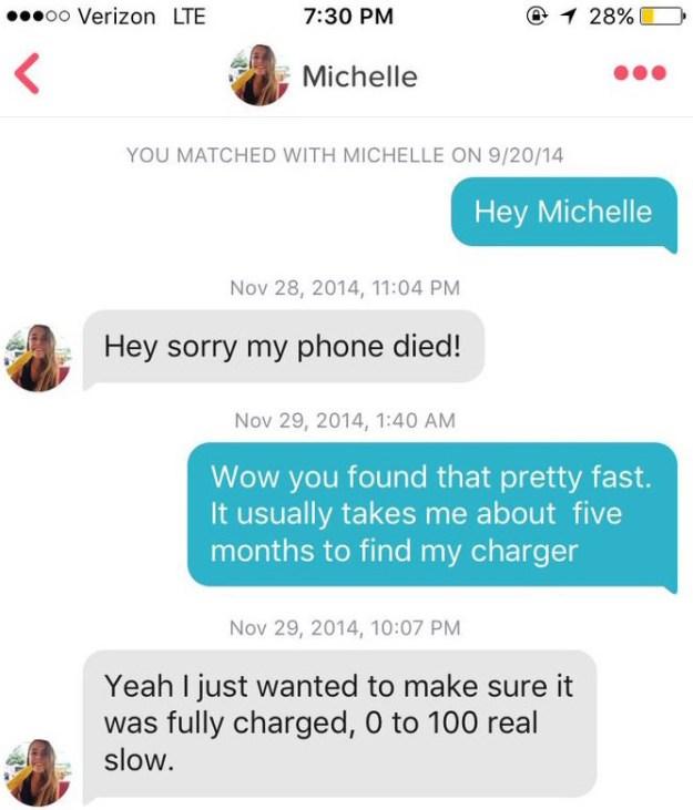 ジャッシュが2014年9月にミシェルに送った初メッセージは、「どうも、ミシェルさん」の1行のみ。シンプルだが、よくある一言目。ミシェルが返信したのは、それから2カ月後。メッセージは「ごめん、充電切れてた!」。返事が遅れたときによく使われる言い訳を、ネタとして返したのだ。