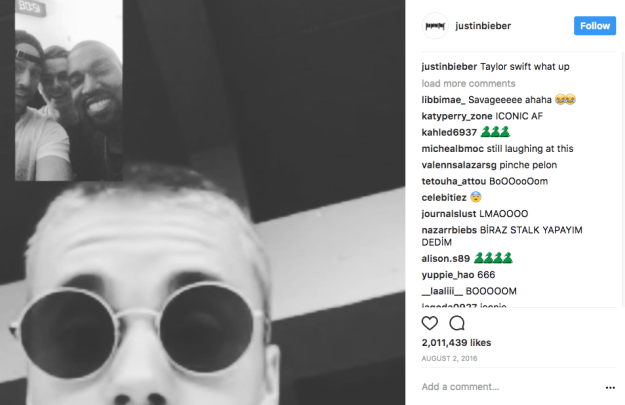 When Justin Bieber — a week after the infamous Kanye-Kim-Taylor feud — Instagrammed this pic of Kanye with a shady-AF caption: