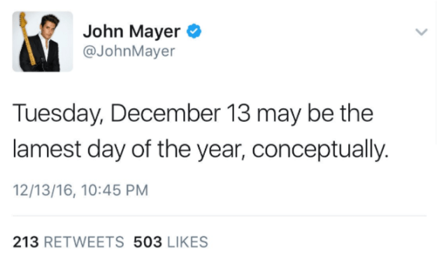 When John Mayer tweeted this — on Taylor Swift's birthday: