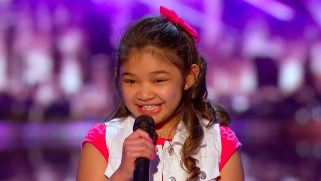 """Last night, 9-year-old Angelica Hale returned to the America's Got Talent stage to perform """"Girl On Fire"""" by Alicia Keys."""