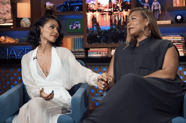 On Wednesday, Jada Pinkett Smith and Queen Latifah stopped by Watch What Happens Live with Andy Cohen to promote their new film Girls Trip.