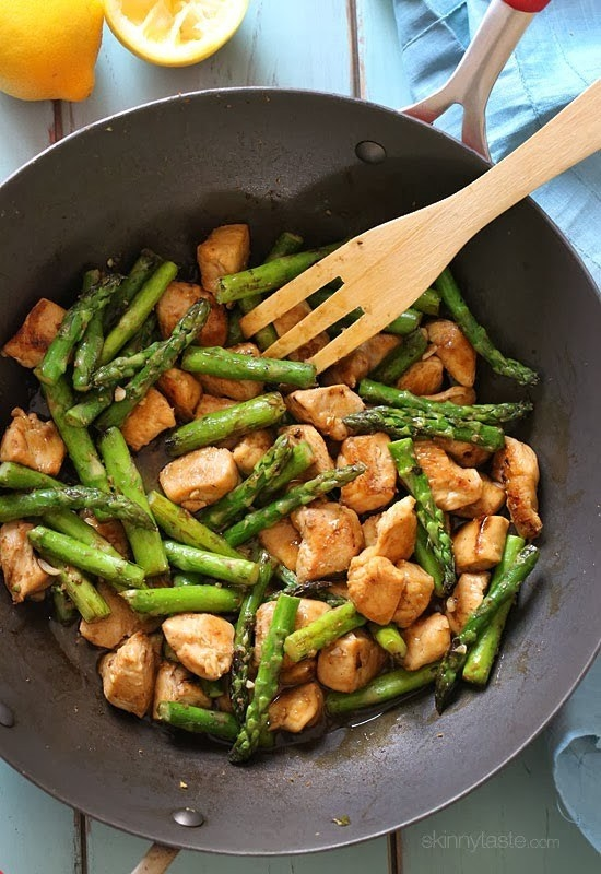This weeknight stir-fry is loaded with crisp asparagus and diced chicken breasts seasoned with bright lemon juice. Get the recipe here.