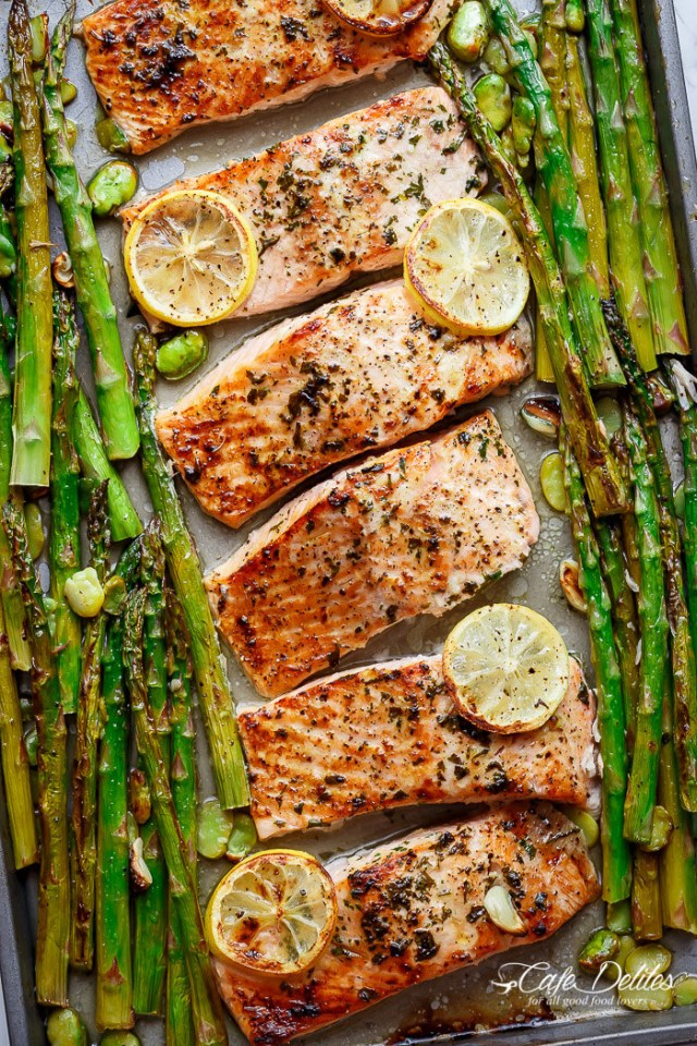 Feel free to swap salmon with your favorite fish (such as tilapia or tuna) in this seven-ingredient dinner made entirely on one sheet pan. Get the recipe here.
