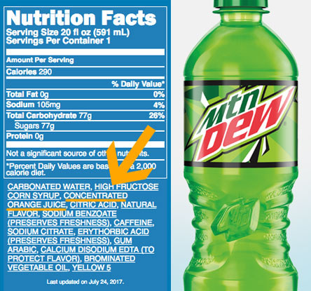 Mountain Dew is mainly just orange juice.