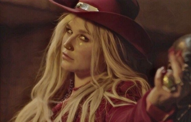 """Last week, a clip of a new music video from Kesha leaked (rumored to be titled """"Woman"""") and the country-leaning female empowerment anthem was everything we wanted from new K-E-nodollarsign-HA music! The leaks were quickly pulled down, but here's a screenshot if you're into spoilers:"""