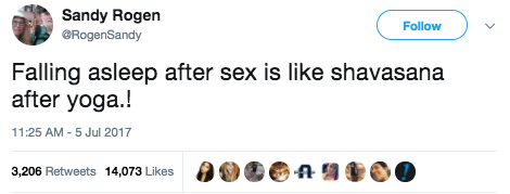 And on Wednesday, she tweeted about falling asleep after sex.