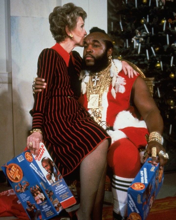 14. Nancy Reagan making sure Mr. T gives her everything she wants for Christmas in 1983: