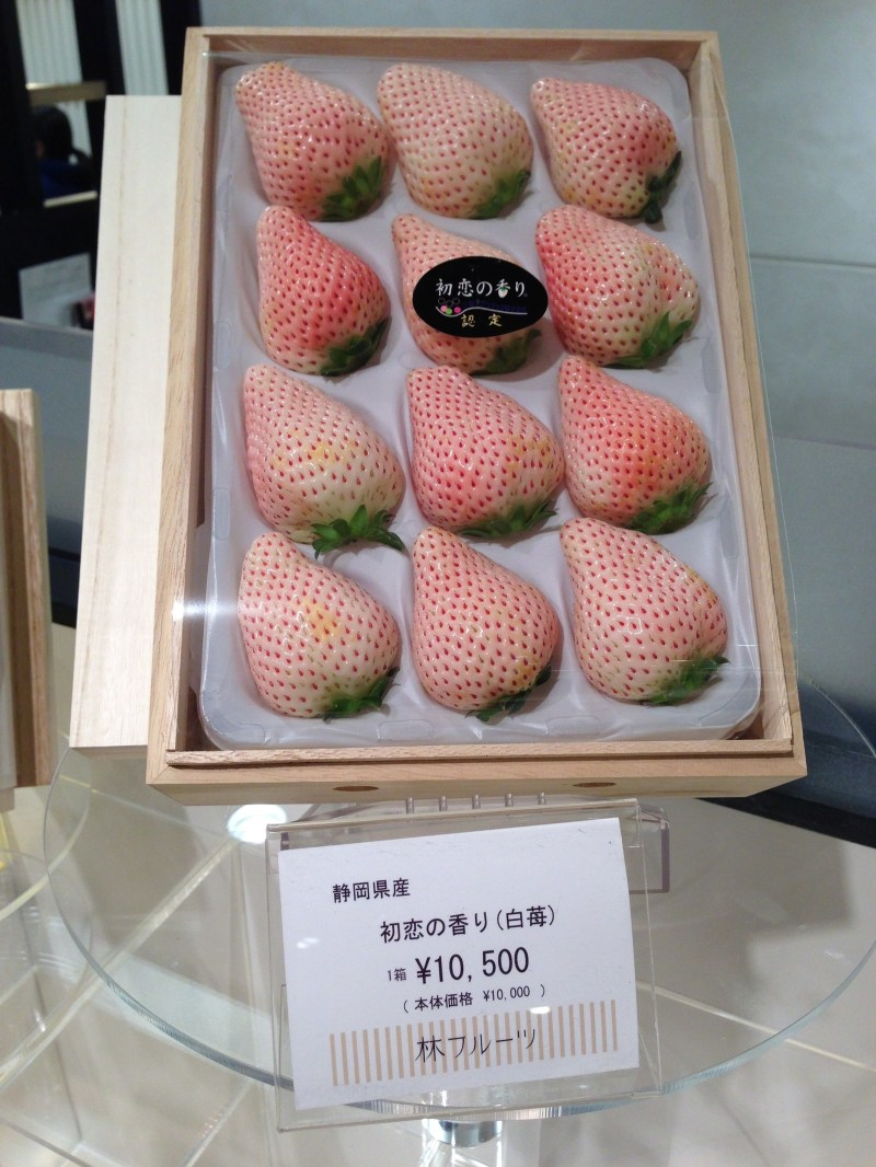 Buying fruit at a supermarket can fully be considered splurging, since fruit is just damn expensive here. Like these white strawberries, selling for around $100.