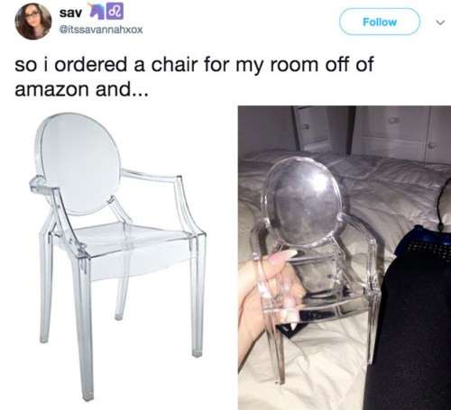 This woman who needed a new chair: