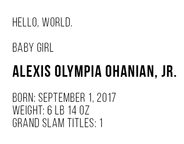 Her name is Alexis Olympia Ohanian, Jr.