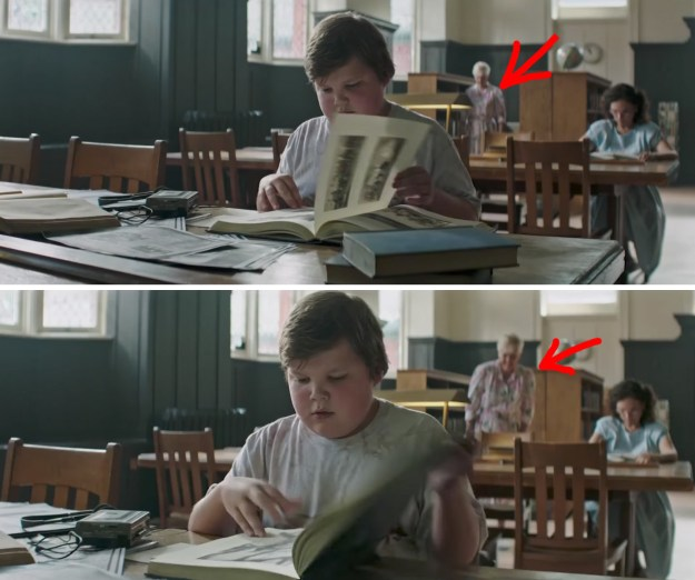 When Ben is reading through a book in the library, there's a terrifying elderly woman lurking in the background, with a sinister grin on her face.