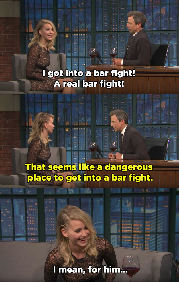 And Jen revealed that, while she was in Budapest, she was involved in an altercation at a bar.