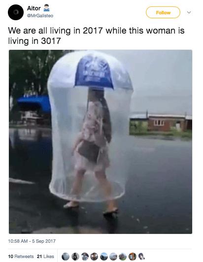 And this human umbrella, too:
