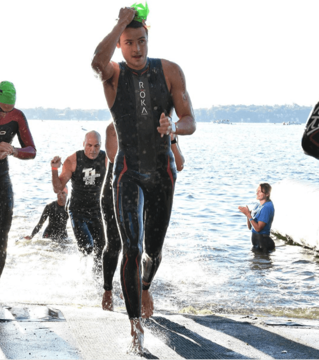Dylan does endurance sports, like running wet out of the water.
