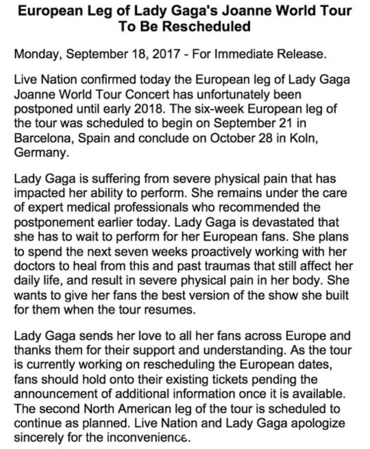 The singer also shared an official statement from Live Nation, revealing she will be taking the rest of the year off and won't be picking up her tour again until early 2018.