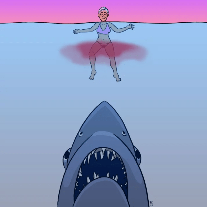 No, menstrual blood does not attract sharks.
