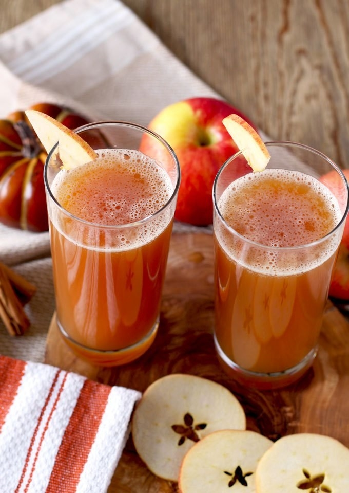 This cocktail for beer lovers features pumpkin ale, apple cider, apple, and cinnamon. Get the recipe.