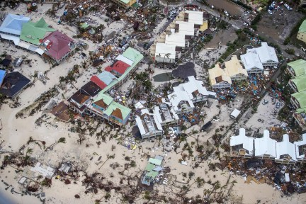 An aerial photograph taken and released by the Dutch department of Defense on Wednesday shows the damage of Hurricane Irma in Philipsburg on Sint Maarten.