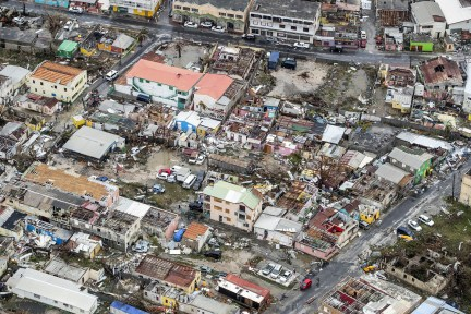 An aerial photograph taken and released by the Dutch department of Defense on Wednesday shows the damage of Hurricane Irma in Philipsburg.