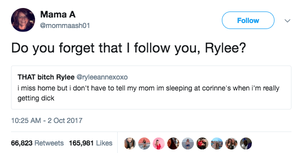 """This mom is gonna need her daughter to not tweet about """"getting dick"""":"""