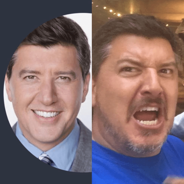 Left: Headshot of a childless man. Right: Candid shot of a father of two.