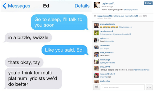 """When Taylor Swift shared this """"sweet bedtime convo"""" with Ed Sheeran about just casually being multi-platinum lyricists."""