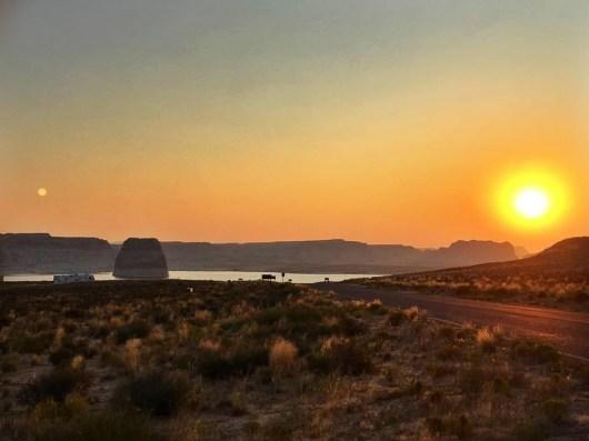 Lone Rock Beach Campground in Utah at Sunrise.