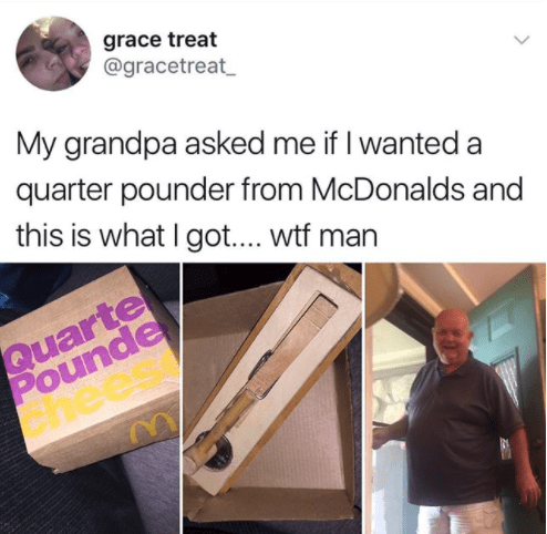 And the finest grandpa joke in the history of jokes:
