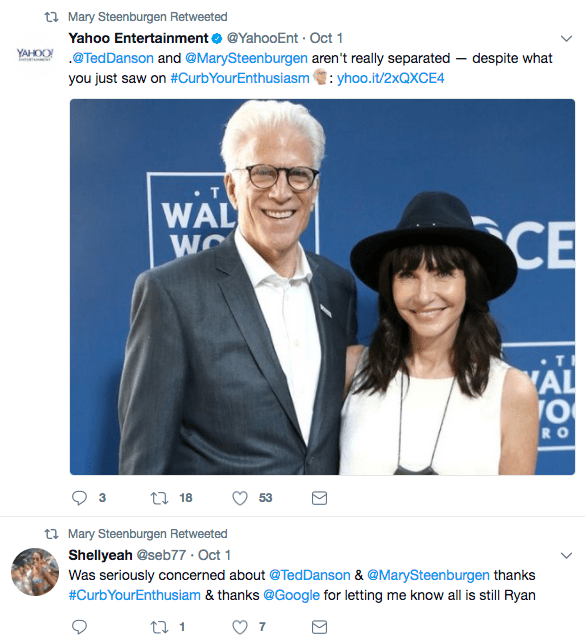 And if you watched the newest episode of Curb Your Enthusiasm you might be worried that they split up. But they most definitely have NOT! That's just TV jokes, and Mary's retweets want to assure you of that.