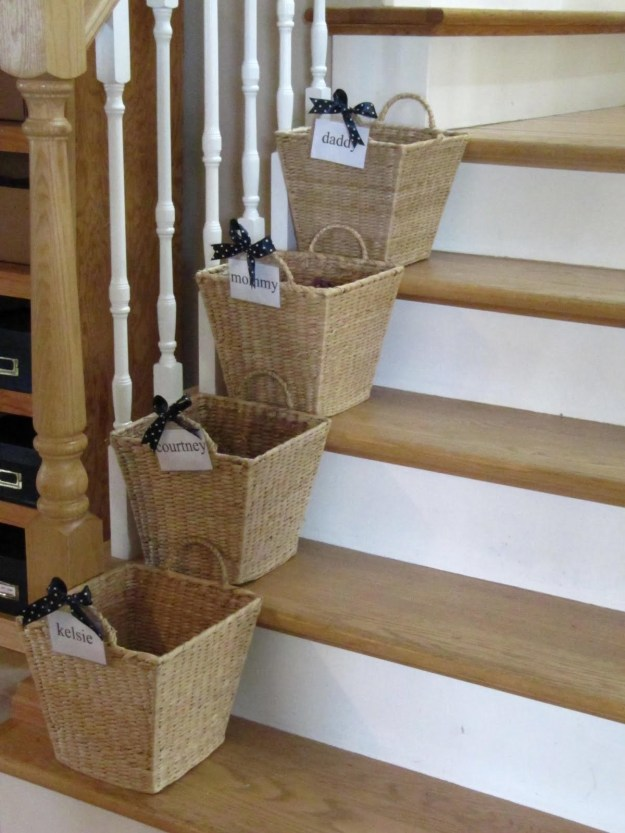 "Maybe you keep labeled ""crap baskets"" on your stairs, so when family members leave stuff around the house, it has a place to go."