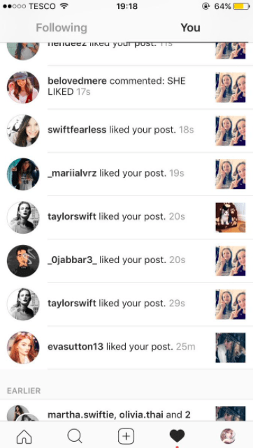 And like any good Instagram creeper, she liked a bunch of pics as well.