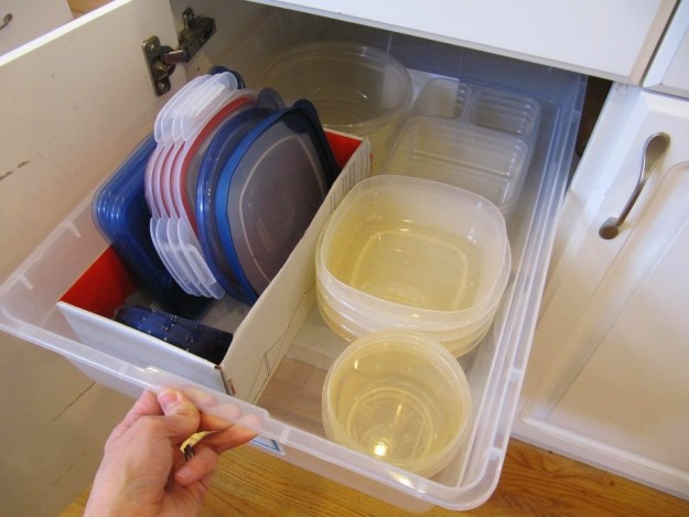 Or maybe you solved your plastic container woes with a long plastic bin and a shoebox.