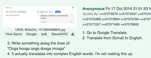 google translate thinks ooga