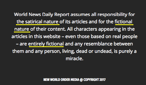 The footer on the website clearly says the content is totally made up.