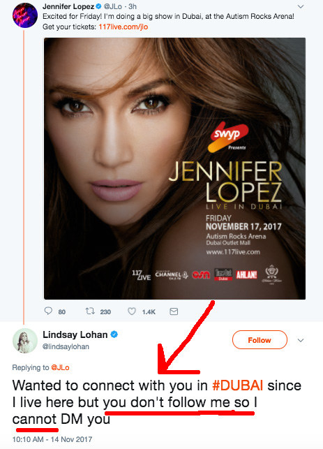 The only difference in this tweet — Lindsay didn't just ask to chat. She also called out JLo for not following her back on Twitter. 😂