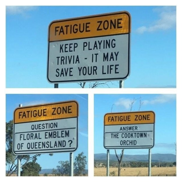 These road signs offer trivia questions so you don't fall asleep at the wheel.