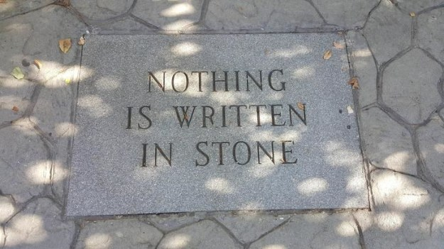 "The artist who wrote ""Nothing is written in stone"" in stone."