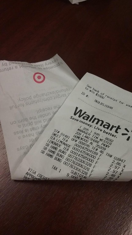This Walmart employee who somehow managed to stock their register with receipt paper from Target?