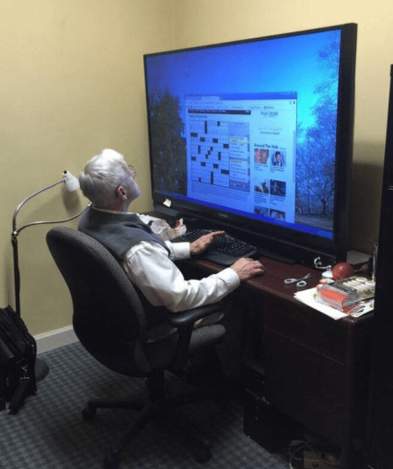 "This grandpa, who has the most extra computer ""monitor"" imaginable:"