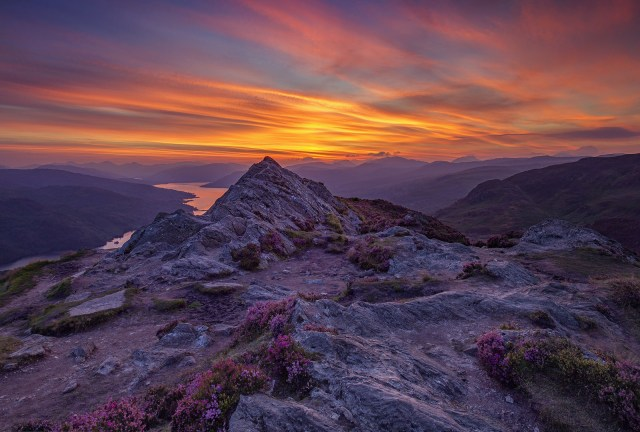 This is the summit of Ben A'an beside Loch Katrine at sunset. Wow.