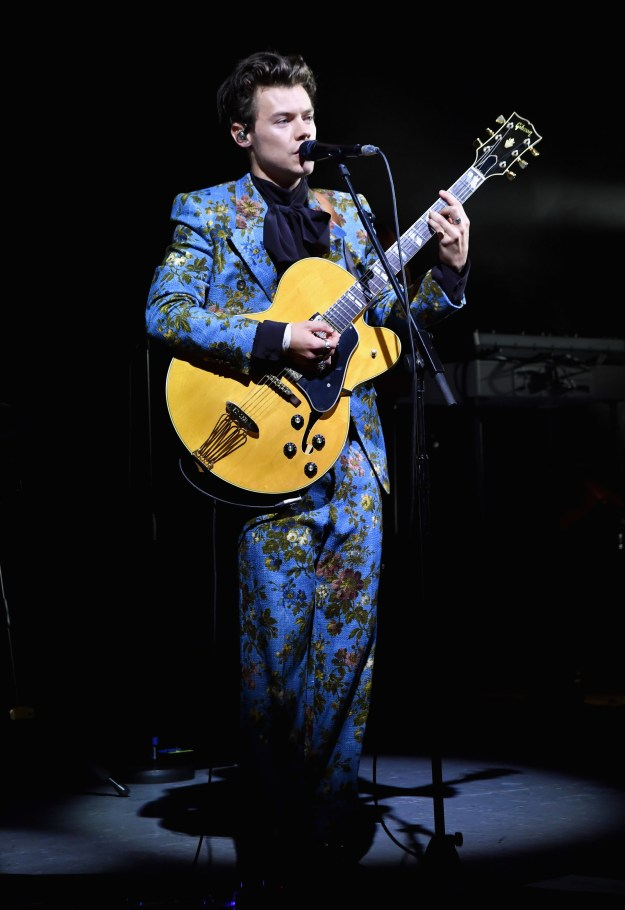 Blue floral suit: Grandma's curtain chic.