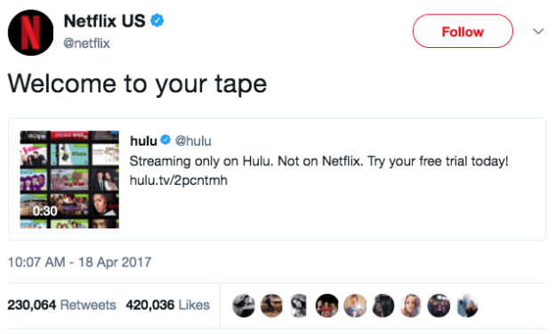 When Netflix was having none of Hulu's shit: