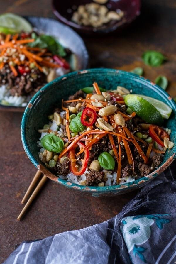 20-Minute Thai Beef Basil Bowls