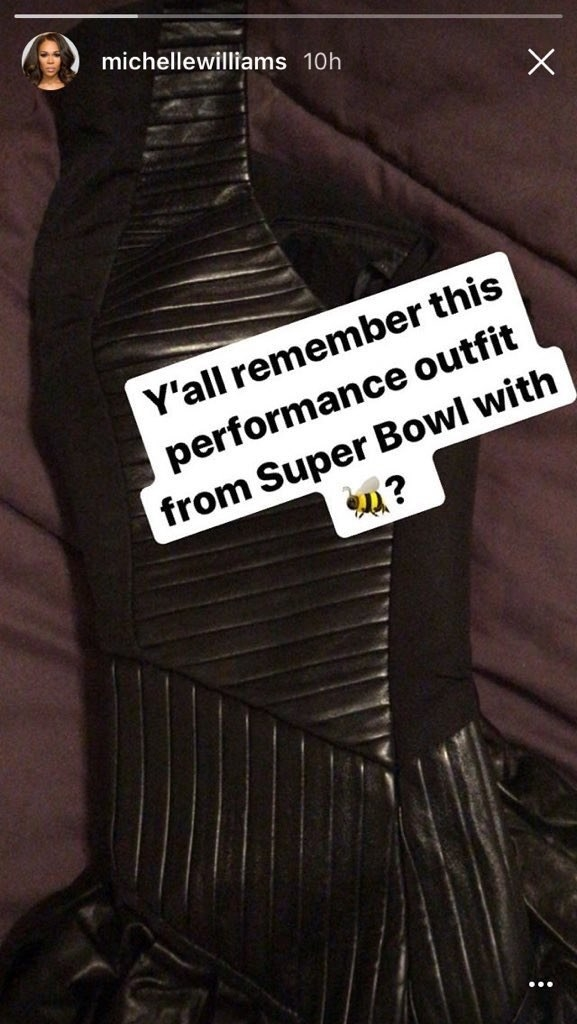 Michelle posted a veeeery interesting picture on her Instagram story – the outfit she wore when Destiny's Child reunited with Beyoncé at the Super Bowl in 2013.