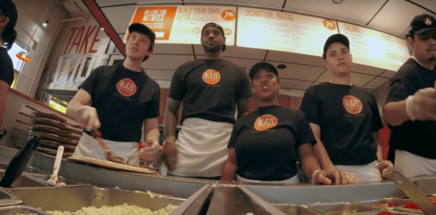 Once he dressed up as a Blaze Pizza employee, and tried to casually blend in while serving customers.