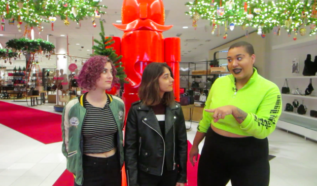 It was game time! They had exactly 30 minutes to find each other a holiday outfit at Nordstrom. Easy enough, right?