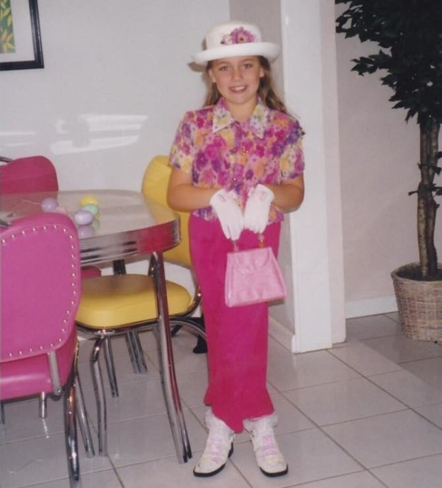 Or maybe your mom thought it would be funny to match you with the kitchen table for Easter.