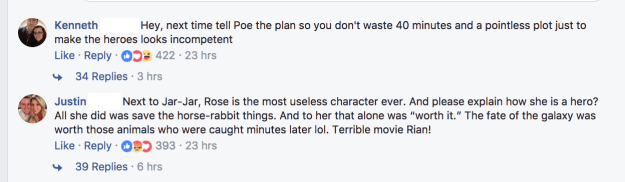 Commenters took the opportunity to voice some of their dissatisfaction with the film and, more specifically, Rose Tico.